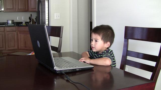 Boy Watching Potty Training Video